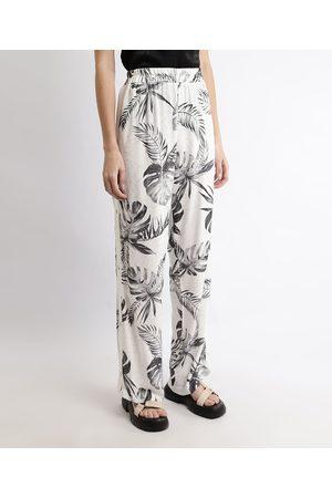 Clockhouse Calça Feminina Pantalona Cintura Alta Estampada de Folhagem com Fenda Off White