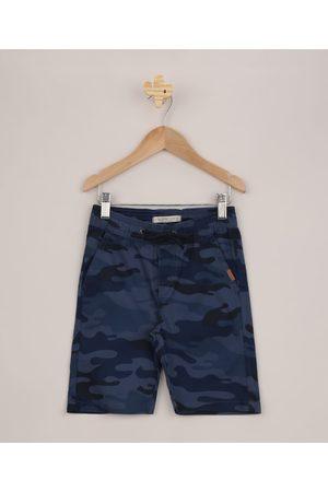PALOMINO Bermuda Infantil de Sarja Estampada Camuflada Azul Marinho