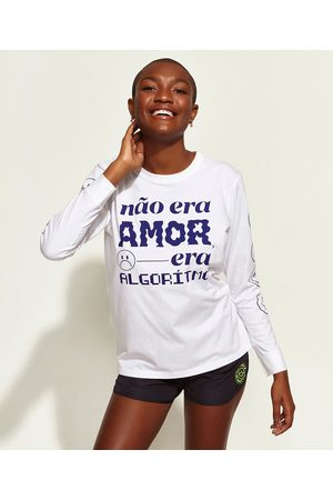 "Mindse7 T-Shirt Feminina Mindset Obvious Não Era Amor"" Manga Longa Decote Redondo Branca"""