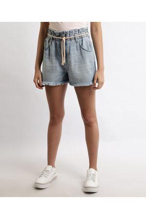 Clockhouse Mulher Short - Short Jeans Feminino Clochard Cintura Super Alta com Cinto Cadarço Claro