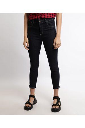 SAWARY Mulher Calça Cintura Alta - Calça Jeans Feminina Cropped Cintura Alta Escuro