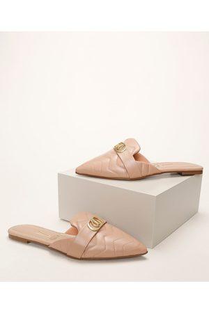 VIZZANO Mulher Sapato Mule - Mule Feminino Bico Fico com Fivela e Efeito Matelassê