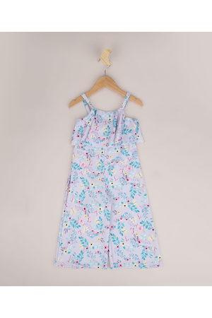 PALOMINO Menina Macacão - Macacão Infantil Texturizado Pantalona Floral Alça Fina Lilás