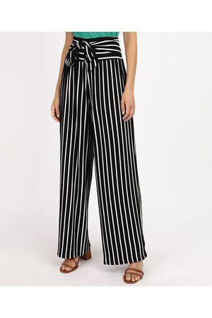 YESSICA Mulher Calça Cintura Alta - Calça Feminina Pantalona Cintura Alta Listrada com Amarração Preta