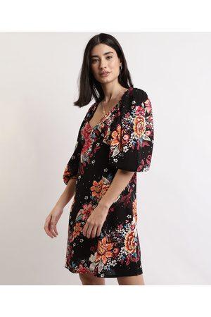 Clockhouse Mulher Vestido Estampado - Vestido Feminino Curto Floral Manga Bufante Preto