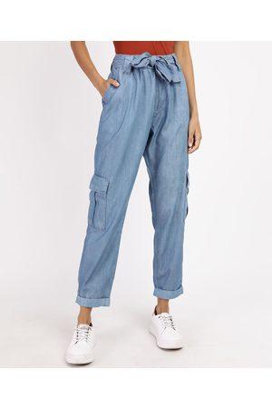 YESSICA Calça Jeans Feminina Cargo Cintura Alta com Faixa para Amarrar Médio