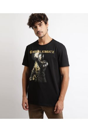 Mortal Kombat Homem Manga Curta - Camiseta Masculina Mortal Kombart X Manga Curta Gola Careca Preta