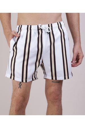 Clockhouse Homem Short - Short Masculino Listrado com Cordão Off White