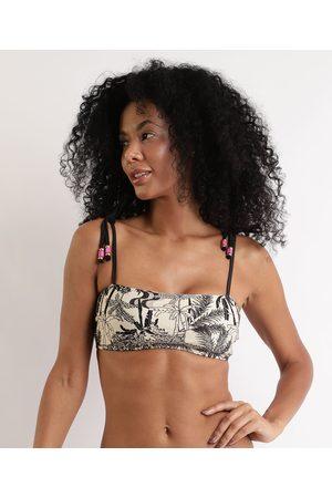 Suncoast Mulher Bikini - Biquíni Top Faixa Natureza Brasileira com Alça e Bojo Removível Proteção UV50+ Bege Claro