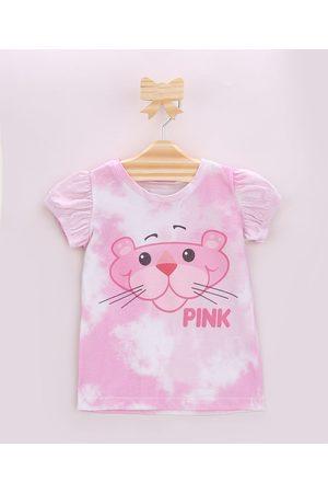 Pantera Cor de Rosa Blusa Infantil Estampada Tie Dye Manga Bufante Rosa