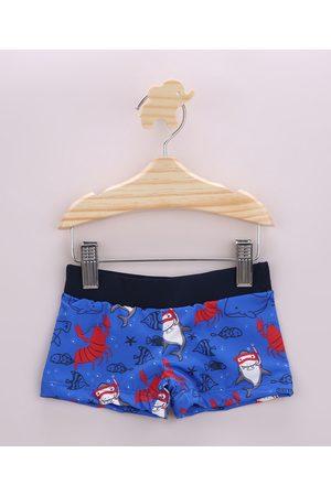 BABY CLUB Menino Short de Banho & Sunga - Sunga Infantil Boxer Estampada de Tubarões com Proteção UV50+ Azul