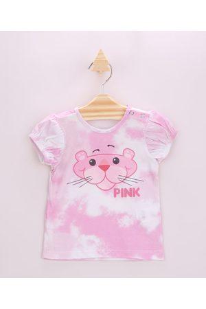 BABY CLUB Blusa Infantil Pantera Cor de Rosa Estampada Tie Dye Manga Curta Rosa