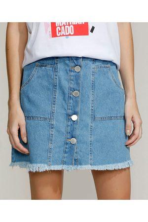 Clockhouse Mulher Minissaia - Saia Jeans Feminina Curta com Botões e Bolsos Claro