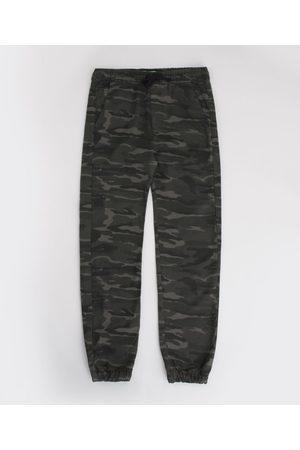 Fifteen Menino Calça de Alfataria - Calça de Sarja Juvenil Jogger Estampada Camuflada com Bolso Chumbo