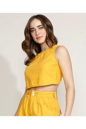 Equivoco Top Cropped Feminino com Amarração Alça Larga Decote Redondo