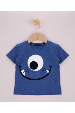BABY CLUB Menino Manga Curta - Camiseta Infantil Monstrinho Aveludado Manga Curta com Dobra