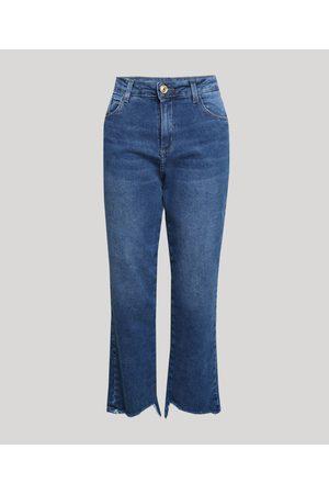 SAWARY Calça Jeans Feminina Reta Cintura Alta com Barra Irregular Médio