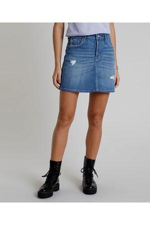 Clockhouse Saia Jeans Feminina Certificada C2C™ Curta com Rasgos Médio