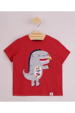 BABY CLUB Menino Manga Curta - Camiseta Infantil Dinossauro Interativo Manga Curta Vermelha