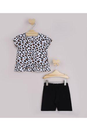 BABY CLUB Conjunto Infantil Blusa Off White Estampada de Animal Print Oncinha + Bermuda Ciclista Preta