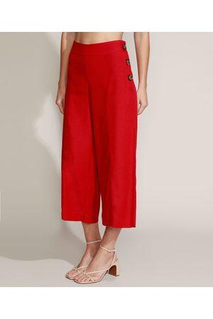 YESSICA Calça Feminina Pantacourt Cintura Alta com Linho Vermelha