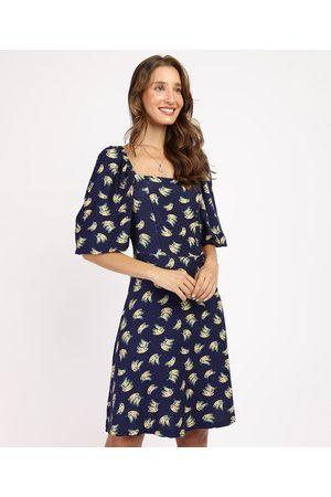 YESSICA Mulher Vestidos - Vestido Feminino Curto de Banana Manga Bufante Azul Marinho