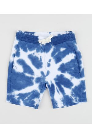 BABY CLUB Bermuda de Moletom Infantil Estampada Tie Dye com Cordão Azul
