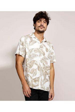 Clockhouse Camisa Masculina Tradicional Estampada de Folhagem Manga Curta Branca
