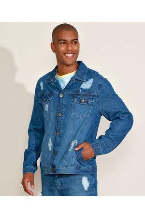 "Clockhouse Homem Jaqueta Jeans - Jaqueta Jeans Masculina Ciclos Trucker Destroyed The Future is Ours"" Médio"""