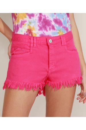 Clockhouse Short de Sarja Feminino Reto Cintura Alta Barra Desfiada Pink