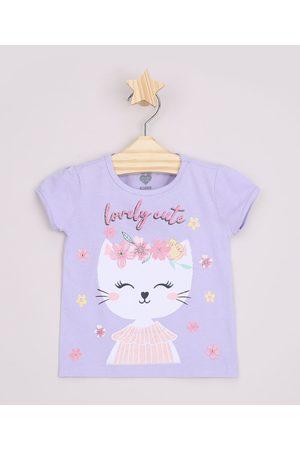 "BABY CLUB Blusa Infantil Gatinha Lovely Cute"" com Glitter Manga Curta Lilás"""