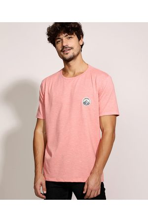 Clockhouse Camiseta Masculina com Patch Manga Curta Gola Careca Coral