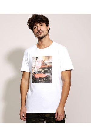 Clockhouse Homem Manga Curta - Camiseta Masculina Fotografia de Carro Manga Curta Gola Careca Branca