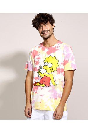 Os Simpsons Homem Manga Curta - Camiseta Masculina Lisa Simpson Estampada Tie Dye Manga Curta Gola Careca Multicor