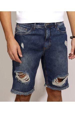Clockhouse Bermuda Jeans Masculina Slim Destroyed com Bolsos Escuro