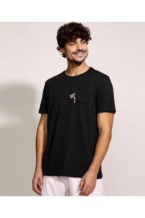 Pantera Cor de Rosa Camiseta Masculina Manga com Bolso Curta Gola Careca Preta