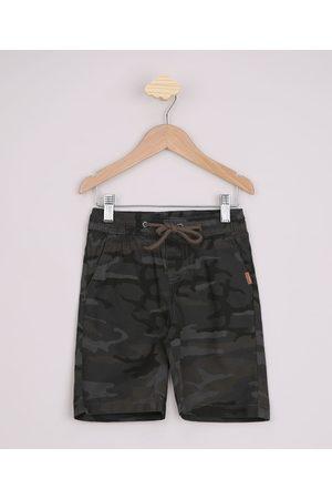 PALOMINO Bermuda de Sarja Infantil Estampada Camuflada Verde Militar