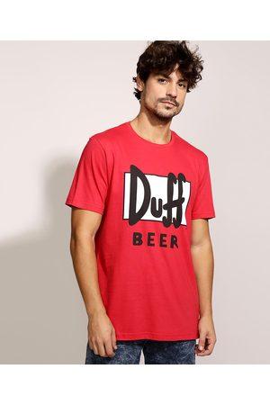 Os Simpsons Homem Manga Curta - Camiseta Masculina Duff Beer Manga Curta Gola Careca Vermelha