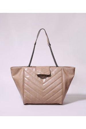 C&A Bolsa de Ombro Feminina Shopper Grande Matelassê