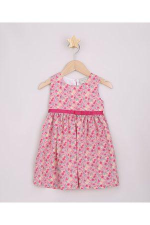 BABY CLUB Menina Vestido Estampado - Vestido Infantil Floral com Laço Sem Manga Rosa