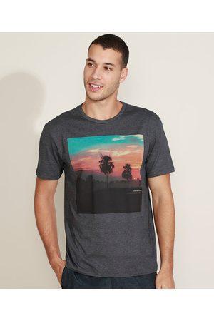 Suncoast Camiseta Masculina Retrato de Paisagem Manga Curta Gola Careca Mescla Escuro