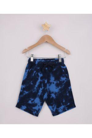 PALOMINO Menino Bermuda - Bermuda de Moletom Infantil Estampada Tie Dye com Bolsos Azul Marinho
