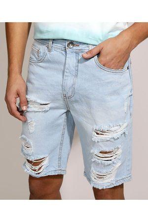 Clockhouse Homem Bermuda - Bermuda Jeans Masculina Slim Destroyed com Bolsos Claro
