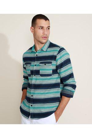 Suncoast Camisa Masculina Listrada com Bolsos Manga Longa Azul Marinho