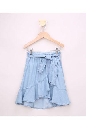 PALOMINO Saia Jeans Infantil Midi Transpassada com Babado e Faixa para Amarrar Claro