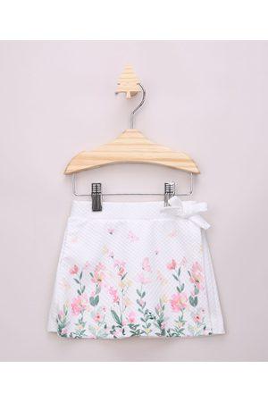 BABY CLUB Short Saia Infantil Transpassado Texturizado com Estampa Floral e Laço Off White
