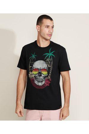 Suncoast Camiseta Masculina Caveira Manga Curta Gola Careca Preta