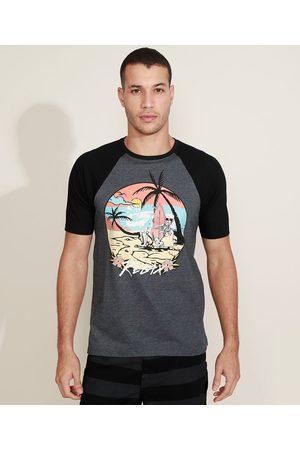 Suncoast Camiseta Masculina Raglan Caveira Manga Curta Gola Careca Mescla Escuro