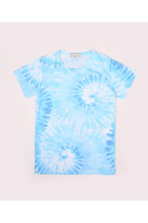 Fifteen Blusa Juvenil Estampada Tie Dye Espiral Manga Curta Azul