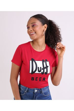 Os Simpsons Blusa Feminina Duff Beer Manga Curta Decote Redondo